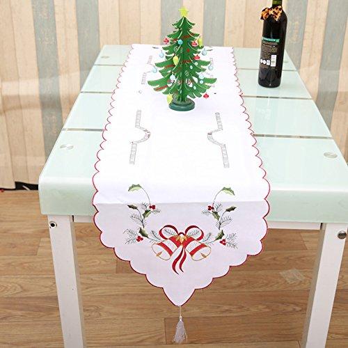 Chemin de table pour décoration de Noël creux Style festif salle à manger de fête, Polyester, White Christmas Bells, 170 * 40cm / 66.93 * 15.75''