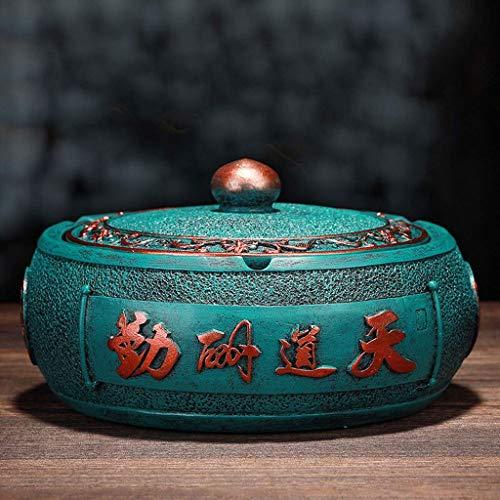 LTGJJ Cenicero para Cigarrillos Decorativos creativos a Prueba de Viento a Prueba de Viento con Tapa Vintage Grabado Resina cenicero Sala de Estar Arte Decorativo Arte cenicero (Color: Rojo 1)