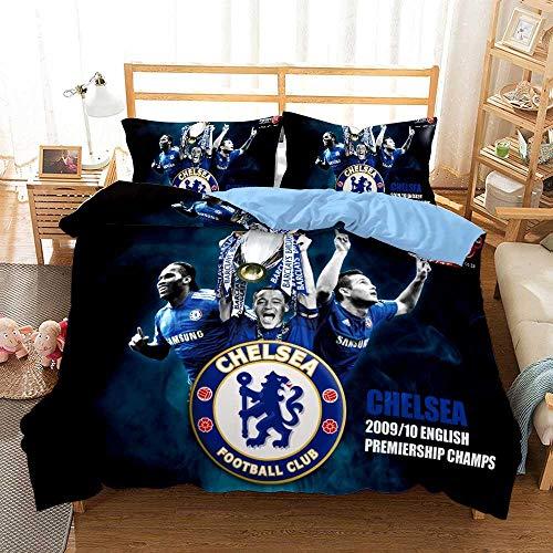 GuoDamei Duvet Cover Double Bed Size 200x200 cm Chelsea 3 pcs 100% Microfiber Bedding Set with Zipper Closure 1 Duvet Cover + 2 Pillowcase 50x75cm Ultra Soft Hypoallergenic