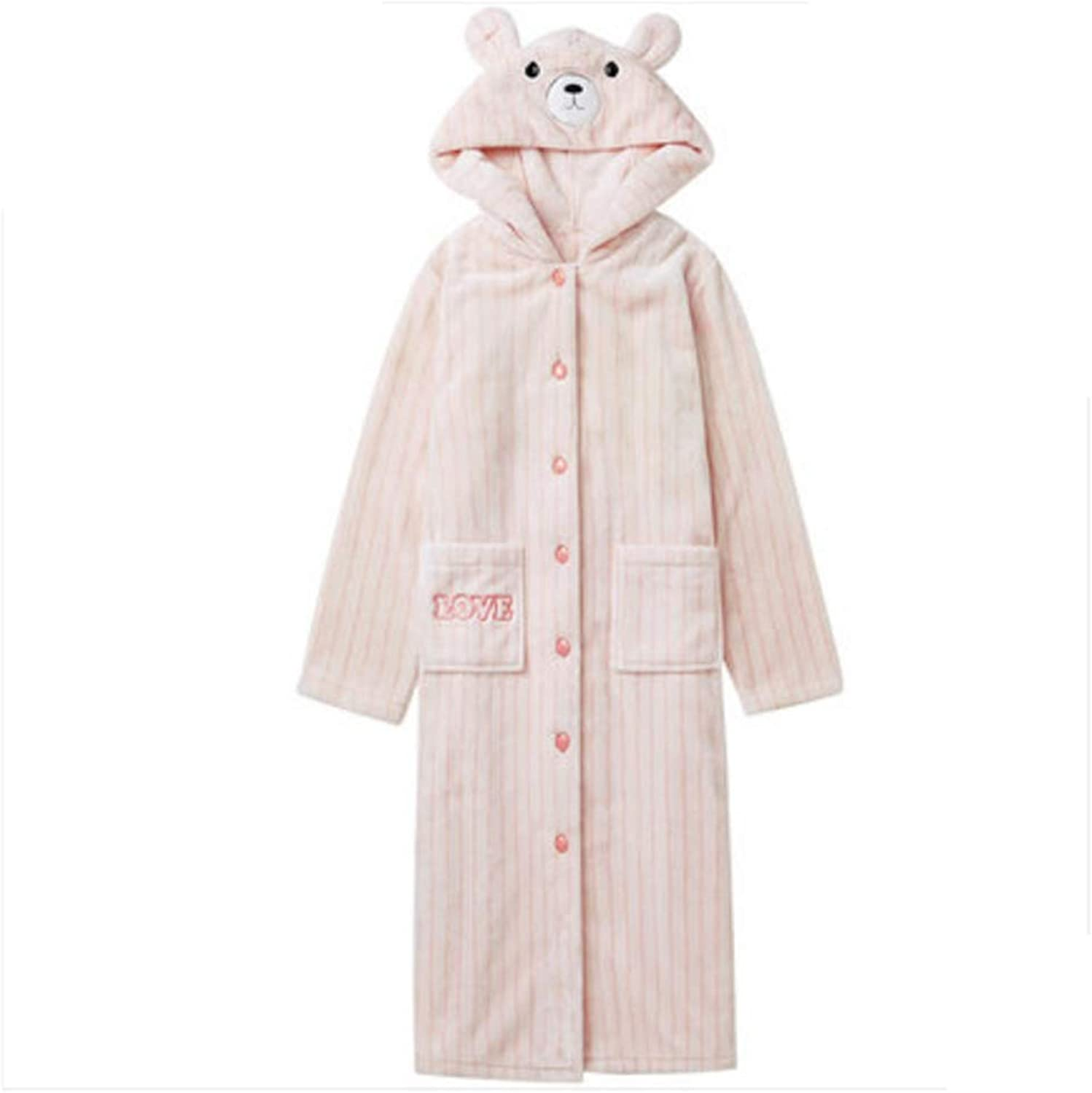 NAN Liang Ladies Luxury Hooded Cute Nightgown Home Service Soft (Size   L)