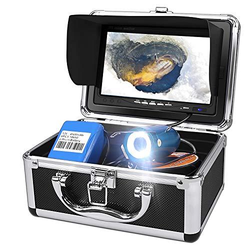 Unterwasser-Angelvideokamera, Fischfinder Anzeigesystem mit DVR-Rekorder, Wasserdichter IP68-Kamera und 7-Zoll-LCD-Farbmonitor mit 30 m Kabel zum Angeln auf Eisseen (8 GB SD inklusive)