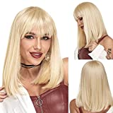 Ebingoo Blonde wig 16 Inches Platinum bob wig 613 bob wig straight Short Bob with bangs Blonde Hair for Women Wig for Party Daily Wear Cosplay for cosplay