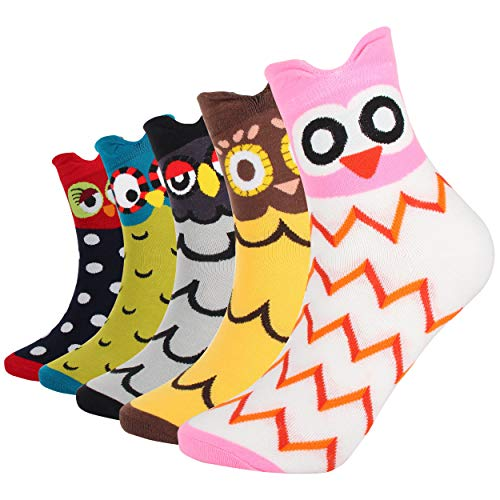 DarkCom 5 Paar Eule Süße Damen Socken, Weiche Atmungsaktive Baumwolle Mädchen Socken (Mehrfarbig-Eule)