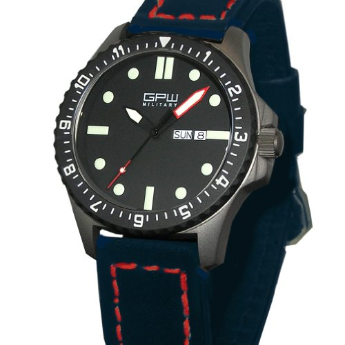 German Military Titanium Watch. GPW Day Date. Sapphire Crystal. Blue Leatherstrap Red Stitching. 200M W/R