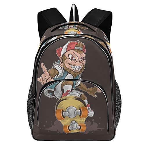 College School Laptop Backpack 15.6 Inch - Skateboard Monkey Pop Punk Waterproof Students Book Bag with USB Charging Port for Women Gifts