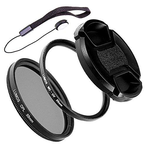 LUMOS Alpha Filter Set 55mm - zirkularer Polfilter - MC UV Filter - Objektivdeckel - Kamera Zubehör Slim Filterset kompatibel zu Sony Objektiv mit 55 mm Filtergewinde