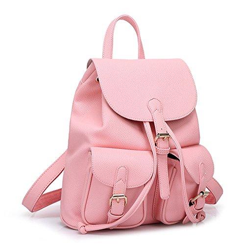 MIMI KING Reiner Farben-Beiläufiger Rucksack Für Studenten-Mädchen-Schule-Große Kapazitäts-Mode-Trend-Wildes PU-Leder,A