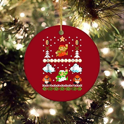 VinMea Christmas Ornaments Keepsake for Xmas Holiday Party Super Mario Mario Goomba Ugly Christmas Sweater Circle Ornament
