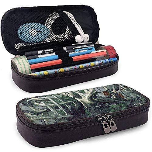Große Kapazität Stiftetasche Box Schreibtisch Stifthalter mit doppeltem Reißverschluss Wasserdicht Robuste Äste und Baumstämme