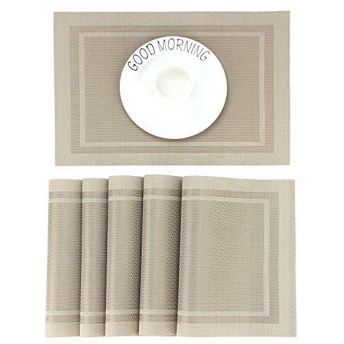 CHAOCHI Manteles Individuales Lavables Salvamantele Individuales PVC Antideslizantes Resistente al Calor Juego de 6 para la Mesa de Comedor de Cocina,Beige