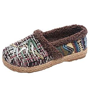 Zapatos De Tela De Gran TamañO-Zapatos De AlgodóN Mujer-Zapatos Madre Antideslizantes De Fondo Suave-AdemáS De Terciopelo Mantener El Calor Estilo Nacional Bohemio Zapatillas Casuales(Rojo,36EU)