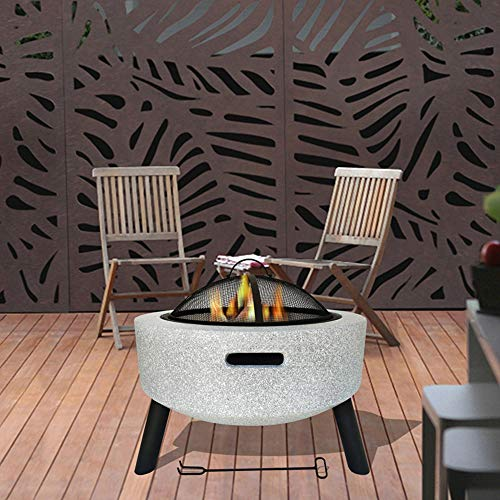 FMXYMC Outdoor Garden Heater Fire Pit, Fire Bowls for Garden, Patio Fireplace Table,Charcoal Burning Fire Bowl, with Mesh Screen Spark Protector and Lift Hook