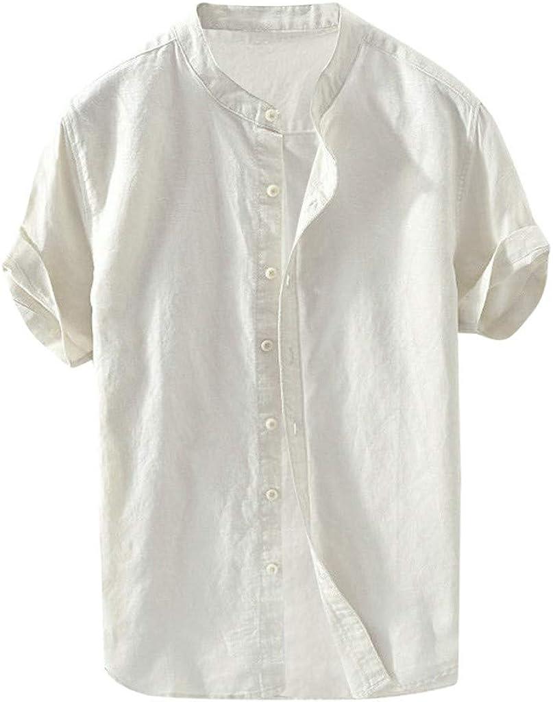 HGOOGY Men's Shirt Casual Cotton Linen Solid Henry Collar Button Down Short Sleeve Blouse Regular Fit Loose Tops