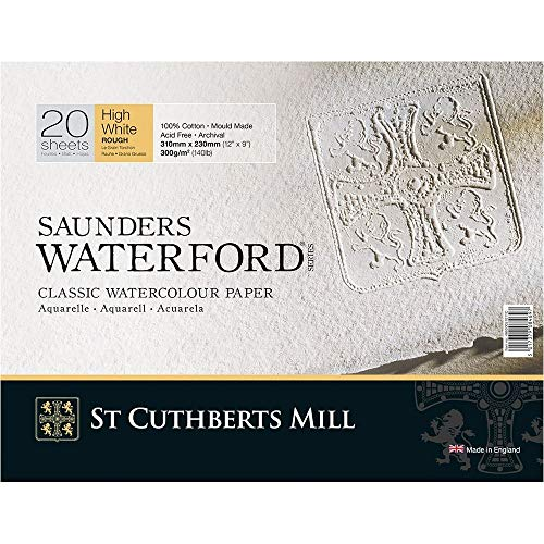 Legion Saunders Waterford Watercolor Block, 140lb. Rough, 9 X 12 inches, White, 20 Sheets (I98-SWB140R912)