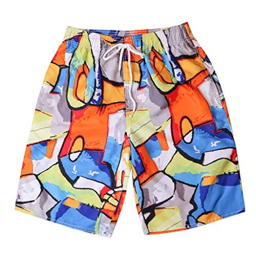 UJUNAOR Mode Paar Badehose Männer Frauen Persönlichkeit Gemalt Zufällige Print Surf Beach Shorts(Orange,EU 46/CN M)