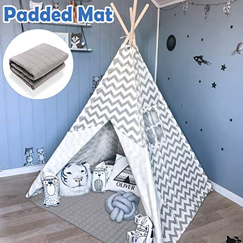 Teepee Tent for Kids with Padded Mat- Play Tent for Boy Girl Indoor & Outdoor, Gray Chevron Heavy Cotton Canvas Teepee