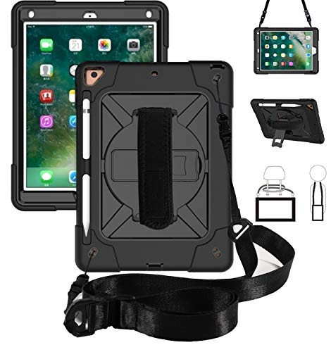Tablet PC Cover Case Color-Contrasting Robot Three-in-one Anti-Drop Shell, Suitable for New iPad 9.7 2017/2018 Tablet Case, Rotating Multi-Function Handle Bracket [Shoulder Strap][Pencil Holder] Prote