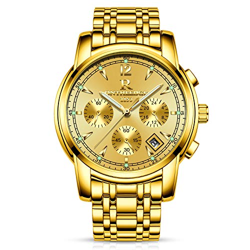 RORIOS Business Uhren Analog Quarzuhr Kalender Edelstahl Metallarmband Leuchtend Armbanduhr