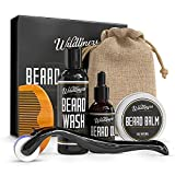 Beard Growth Kit For Men - Complete Beard Groom Kit For Men With Titanium Microneedle Roller For Hair Growth, Natural Oil, Wash, Balm To Stimulate Growth & A Wooden Comb, Growth Guide, Travel Pouch