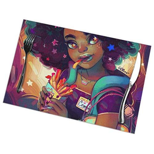 Cartoon Girl Big Hairdo y comer patatas fritas PVC lugar esteras aislamiento térmico resistente a las manchas manteles individuales