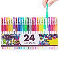 Glitter Gel Pens Colored Fine Tip Markers with 40% More Ink for Adult Coloring Books, Drawing and Doodling (24 Colors)