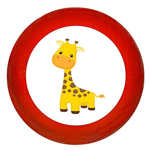 """Kindermöbelknopf""""Giraffe"""" rot Holz Buche Kinder Kinderzimmer 1 Stück wilde Tiere Zootiere Dschungeltiere Traum Kind"""
