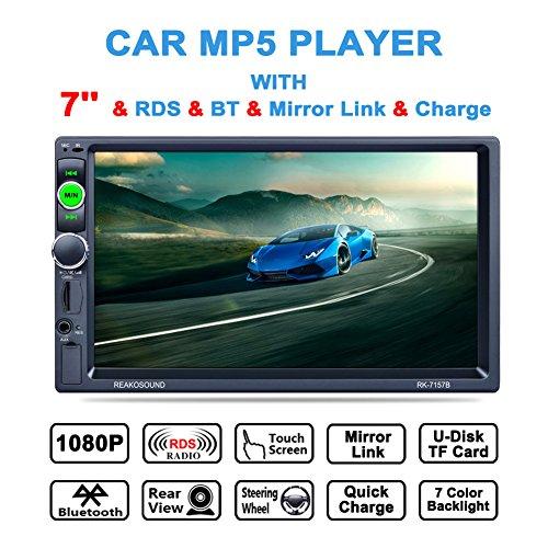 Autoradio 7 Pouces HD Ecran Multimedia 12V Support RDS Radio FM/USB/SD/MMC / MP5, Audio Bluetooth pour des Appels Mains Libres avec Télécommande sans Caméra de Recul