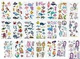 Poisson dessiné Tatouages temporaire pour Enfants, 220 x Tatouages ephémères Enfants Fille Garcon pour fête monde de la mer ou l'anniversaire d'enfant Sac De Fête Cadeaux