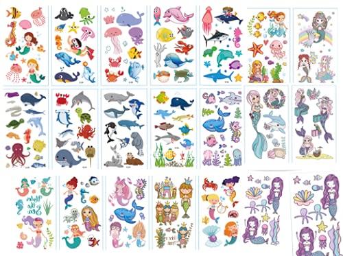 Tatuajes Temporales Niños Niñas animal marino 20 Hojas Tatuaje Falso Pegatinas Dibujos Animados para Infantiles de Cumpleaños Regalo