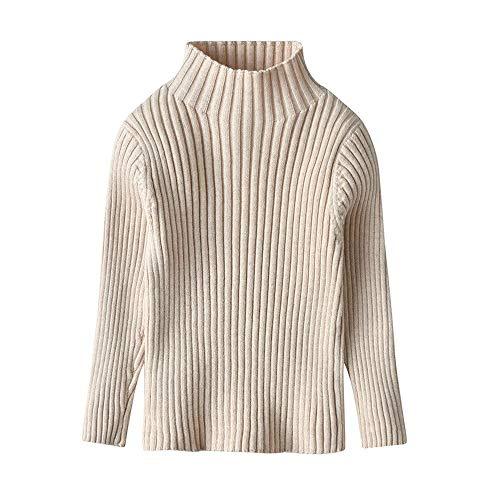 2-6 años 100% algodón clásico fondo ropa niños ropa de niño sólido camisas de punto alto suéter suéter - beige - 80 cm