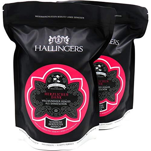 Hallingers Gourmet-Kaffee, schonend langzeit-geröstet (1.000g) - Herzlichen Dank, 2x 500g (Aromabeutel) - zu Muttertag & Vatertag