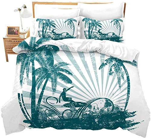 Evvaceo Child Bedding Set 3 Pieces Duvet Cover Beach Plant Palm Tree Stripe Man Surf 135 Cm X 200 Cm Teens Boy Girl Bedroom Kindergarten Bedding Superfine Fiber Mattress Cover(individual)
