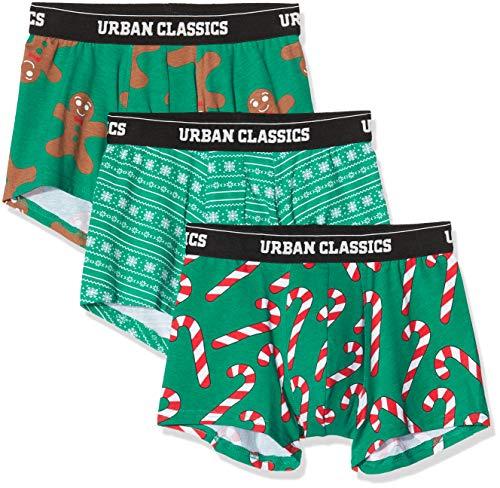Urban Classics Herren Unterhosen Mit Weihnachts-Motiv Christmas Fun Boxer 3Er Pack Boxershorts, Mehrfarbig (Xmasgreen/Xmasgreen/Xmasgreen 02386), Small (Herstellergröße: S)