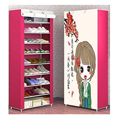 WINON Zapatero Rack de Zapatos 10 Capas 9 Compartimentos Gerente de Almacenamiento Single Fila Shoebox Torre de Estante con Cubierta no Tejida Cabina de Zapatos para la casa Zapateros