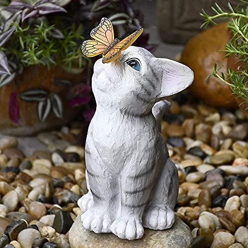 Statue di gatti Decorazione da giardino con luce solare a farfalla, Statuetta in resina con luce solare a LED, Luci paesaggistiche decorative per esterni ad energia solare, per patio, cortile, prato