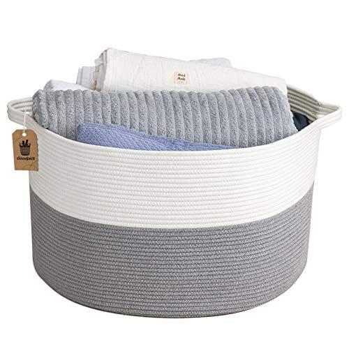 INDRESSME XXL Aufbewahrungskorb Groß Korb Baumwolle Seil Wäschekorb Wäschesammler für Decken Kisse im Wohnzimmer Kleidung Spielzeug im Kinderzimmer, Grau 60 x 36 cm (D x H)
