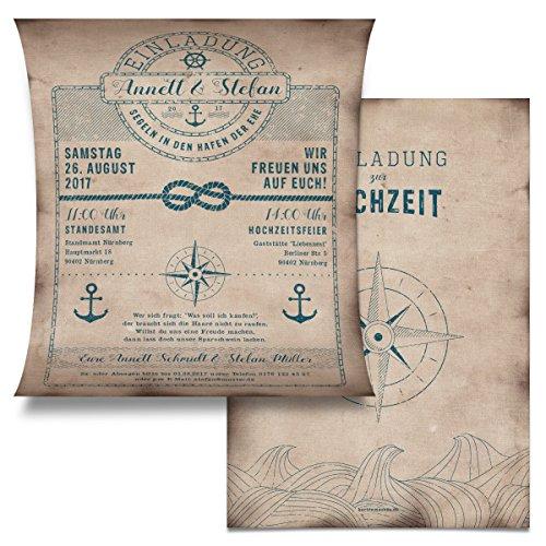 Hochzeit Einladungskarten (10 Stück) - Schatzkarte als Flaschenpost - Seemann Anker Einladung