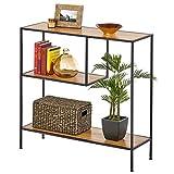 mDesign Mesa auxiliar – Mueble recibidor alto con 3 niveles, de metal y madera – Mueble consola estrecho para salón y pasillo en estilo industrial, para almacenar objetos pequeños – negro y marrón