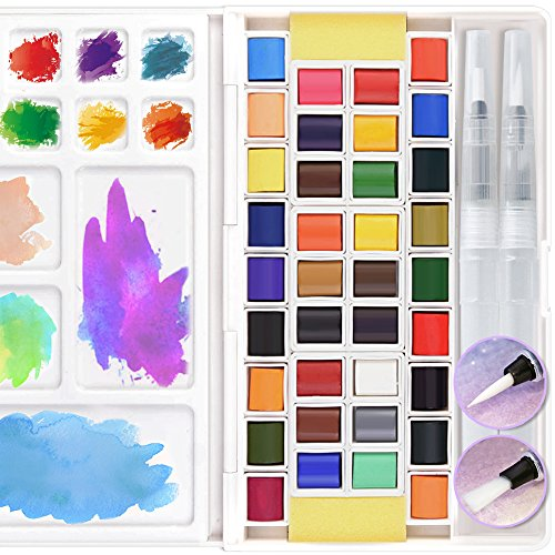 36 Assorted Watercolor Paints Set Travel Pocket Solid Water Color Paint Kit with Water Brushes Sponges Mixing Palette Professional Art Supplies for Beginner Artists Journal Sketching Painting