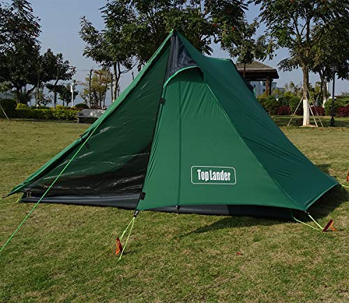 Top Lander A Peak 1-2 Person Poleless Ultralight Backpacking Tent for Outdoor Hiking Camping Mountaineering Travel Waterproof Lightweight Solo Bivvy(Green (2 Person))