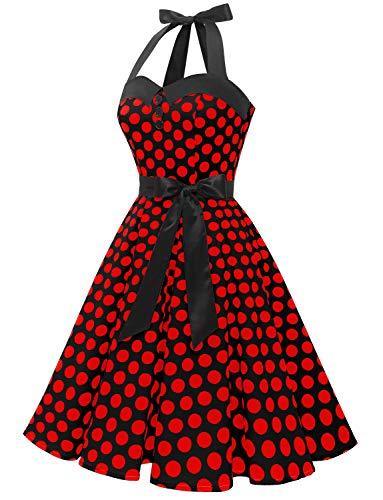 Dressystar Vestidos Corto Cuello Halter Estampado Flores y Lunares Vintage Retro Fiesta 50s 60s Rockabilly Mujer Negro Rojo Lunares S
