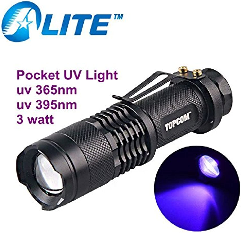 UV 395NM, Black   Top Sell SK68 UV 365nM 395nM 3W Power LED Zoom Pocket Ultrapurple Lamp Flashlight Black Light Torch