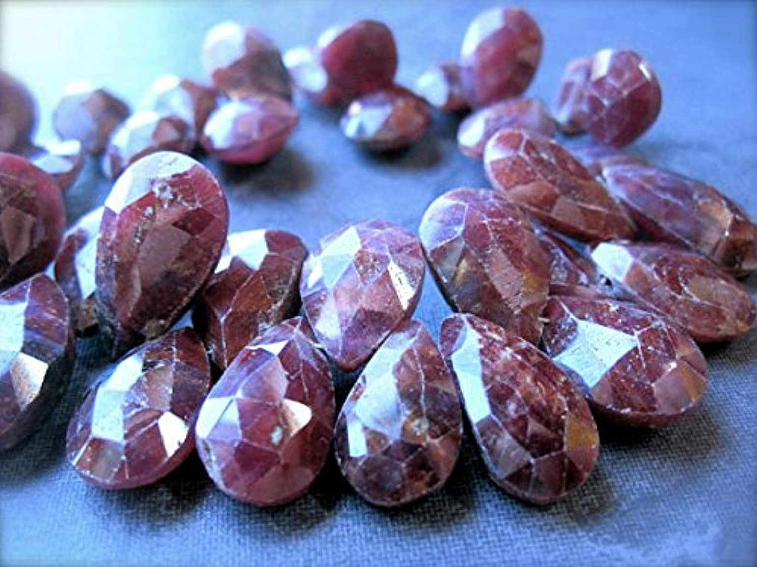 Ruby beads Genuine faceted natural briolettes full stre gree 11mm X 8mm-15mm X 12mm
