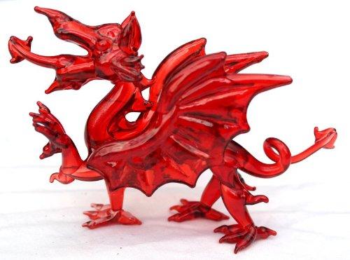 Stunning Small Glass Welsh Dragon, The red Dragon of Wales. (Y Ddraig Goch)