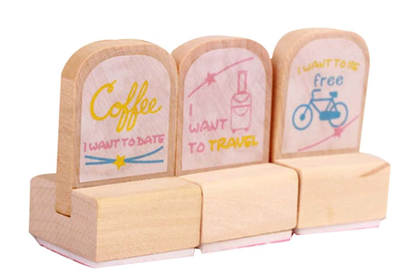 Two Sets Lovely Shape Seal Color Printing Long Wooden Stamp Creative Stationery