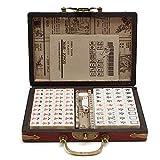 Lixada Mahjong Box Retro Portátil Mah-Jong Chino Mahjong Numerado Set 144 Azulejos Mah-Jong Set Juguete Chino Portátil con Caja Tablero Juego de Mesa