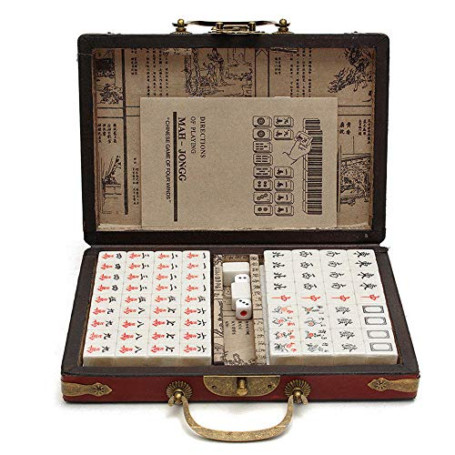 Fesjoy Rétro Mahjong Boîte Mah-Jong Chinois Numéroté...