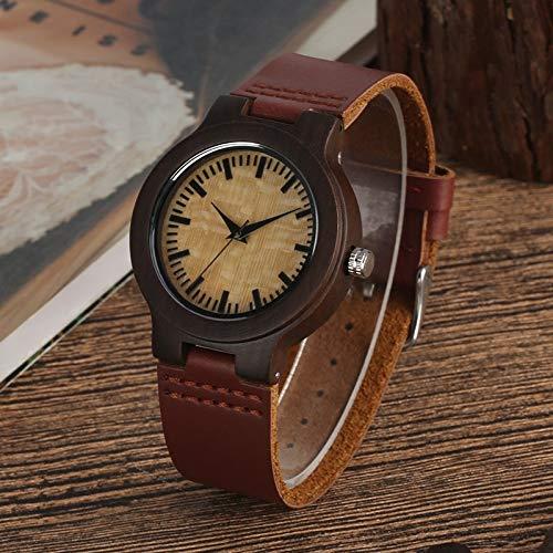 IOMLOP Reloj de madera único redondo reloj de madera sin palabra dial reloj de la hora de las mujeres de cuarzo retro marrón oscuro reloj de pulsera de cuero de la muñeca de las mujeres
