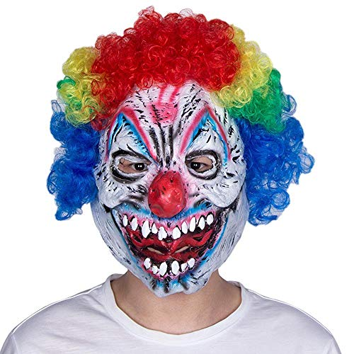 LXIANGP Latex Kopfbedeckung lächelnd Mörder Clown Halloween Ghost Festival Horror Maske Party Ball lustige Clown Maske