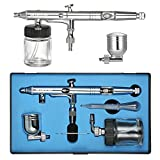 KKmoon Dual-Action Airbrush Kit Set Adjustable Air Control 0.25mm 7cc & 22cc Trigger Spray Gun for Nail Arts Body Paint Painting Air Brush with Eyedropper